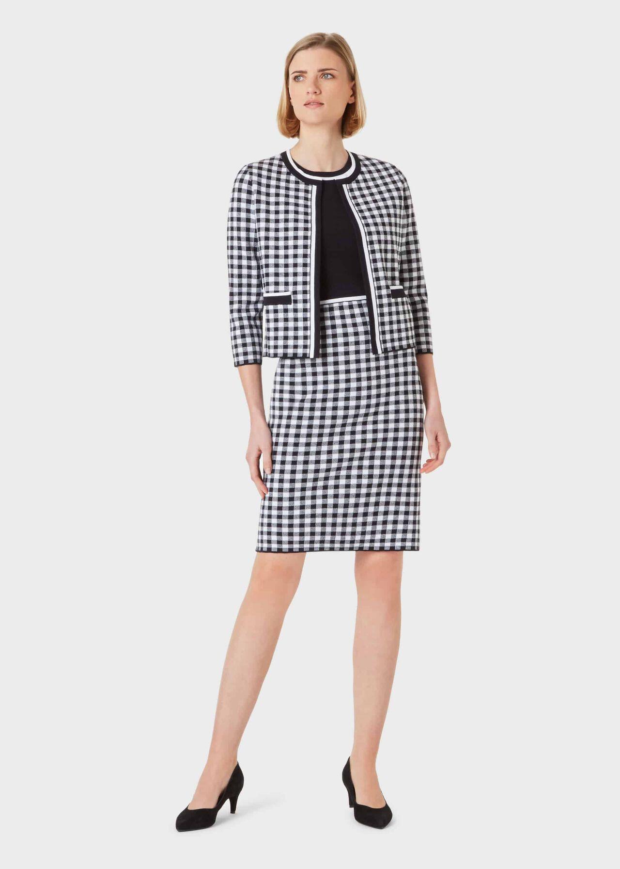 Saffi Cotton Blend Knitted Jacket, Navy Ivory, hi-res