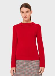 Audrey Wool Cashmere Sweater, Red, hi-res