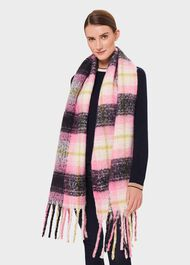 Polly Check Scarf, Lime Pink Multi, hi-res