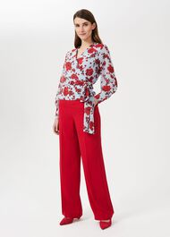 Lalena Wide Leg Trouser, Poppy Red, hi-res