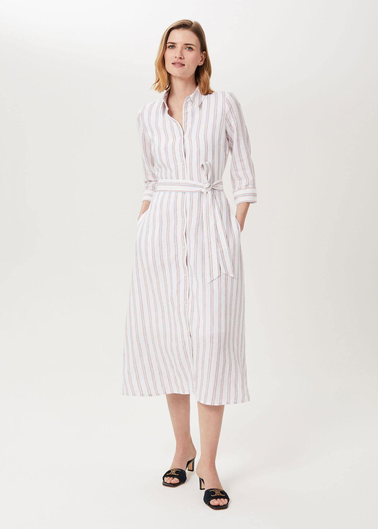 Ciara Linen Dress, Ivory Multi, hi-res