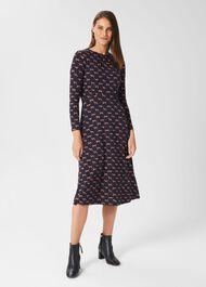 Sian Jersey Dress, Navy Multi, hi-res