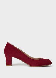 Amber Suede Block Heel Court Shoes, Dark Cherry, hi-res