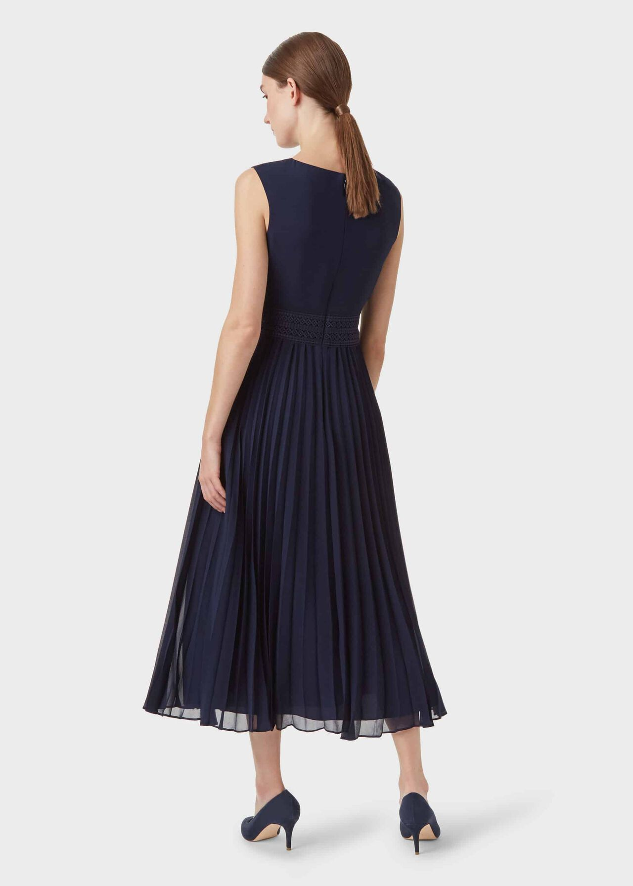 Bridgette Pleated Fit And Flare Dress, Midnight, hi-res