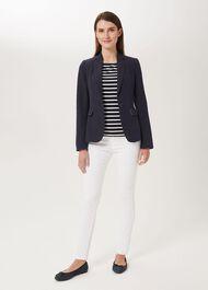 Trent Silk Linen Jacket, Navy, hi-res