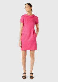 Linen Petra Dress, Pink, hi-res