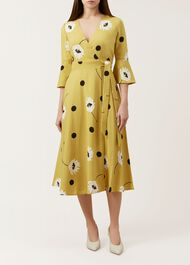 Jeanne Wrap Dress, Yellow Black, hi-res