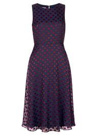 Adeline Dress, Navy Burgundy, hi-res