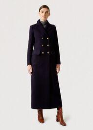 Bianca Maxi Coat, Navy, hi-res