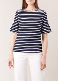 Gee Fluted Sleeve Top, Navy Ivory, hi-res