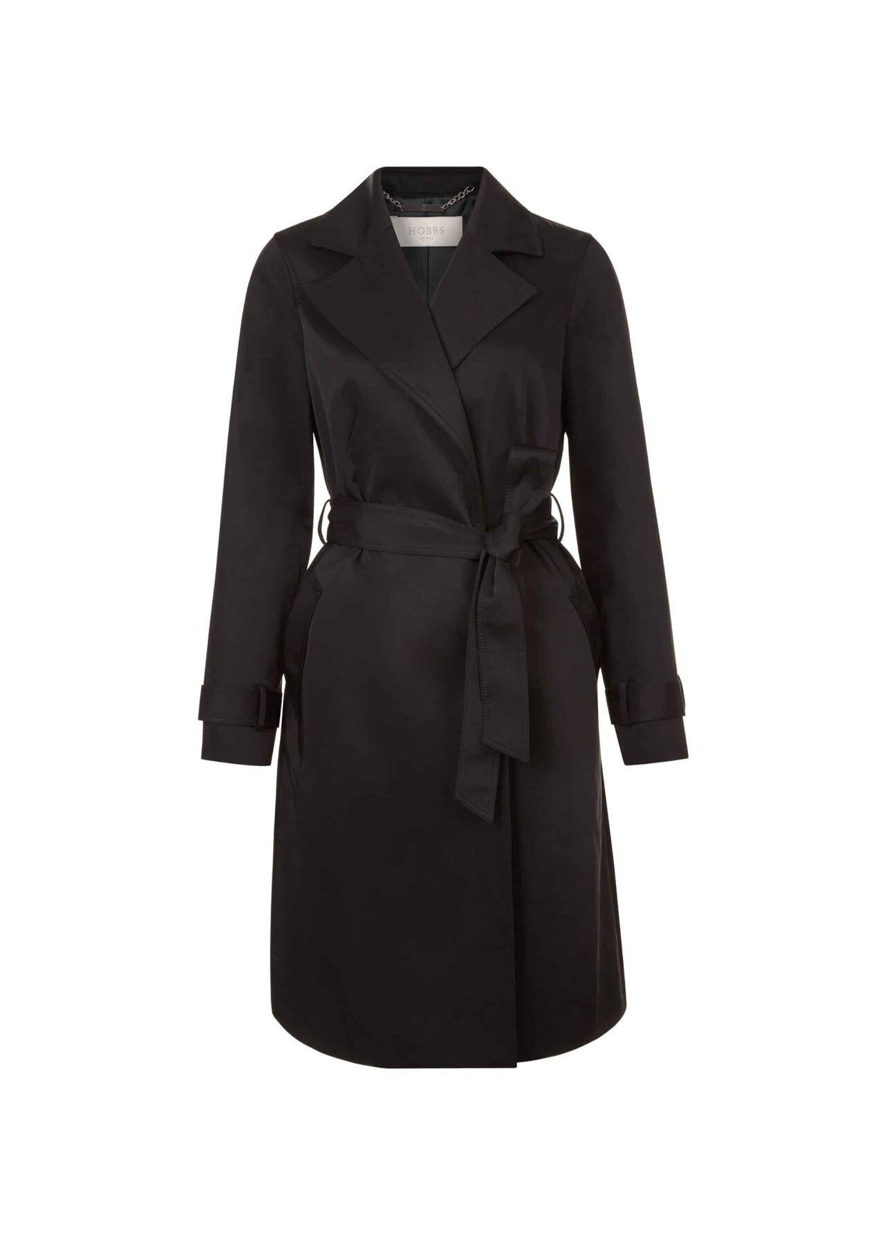 TianaWater-Resistant Trench Coat Black