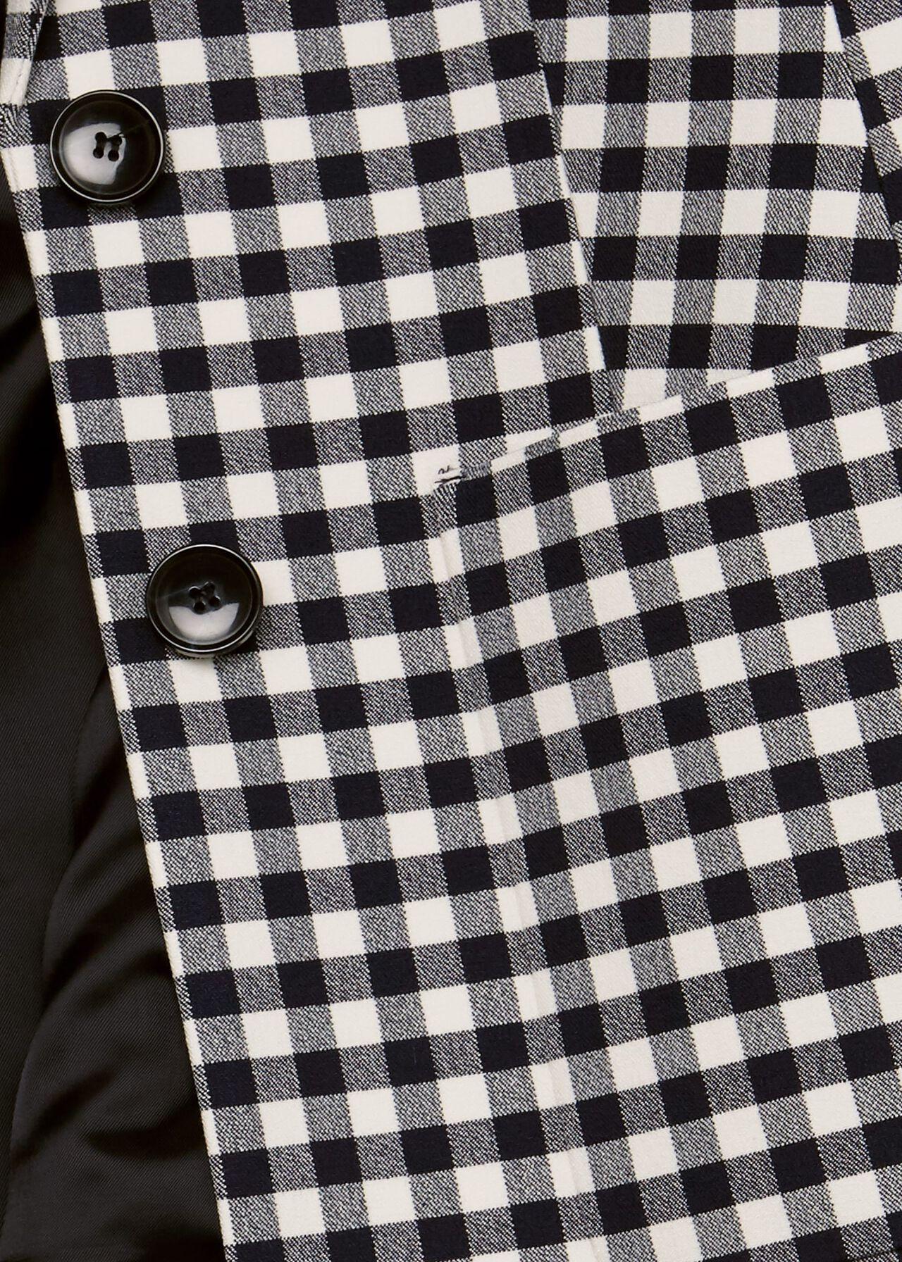 Kelsie Check Blazer With Cotton, Navy White, hi-res