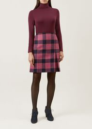 Avery Kick Pleat Wool Skirt, Pink Multi, hi-res