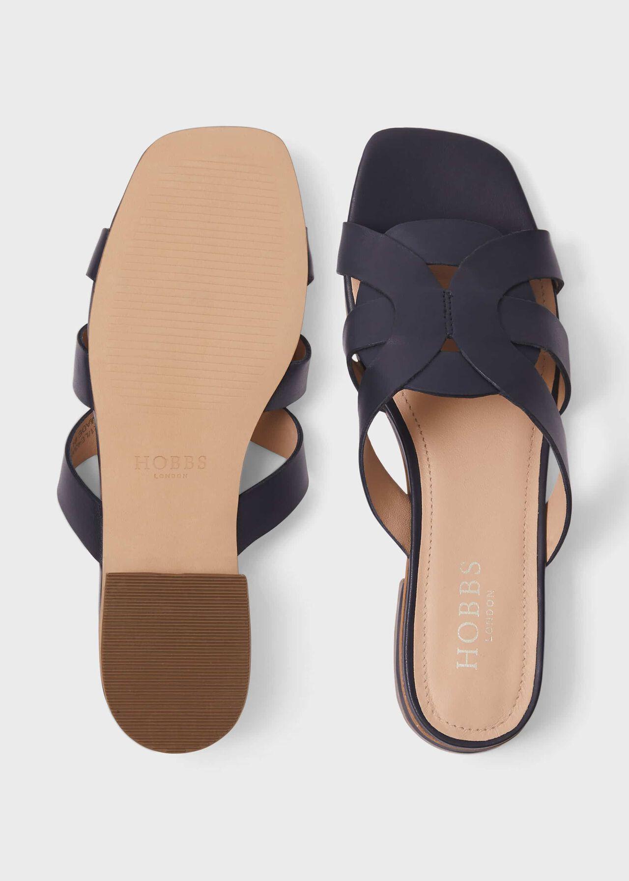Alexandra Leather Sandals, Navy, hi-res