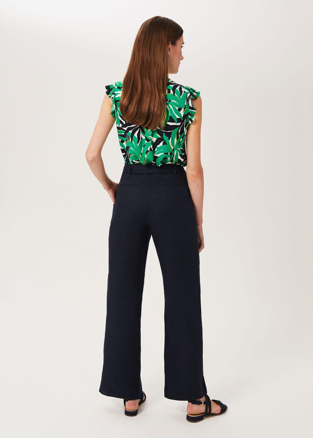 Jacqui Linen Trousers, Navy, hi-res