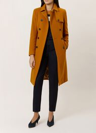 Eleanora Wool Blend Trench Coat, Ochre, hi-res