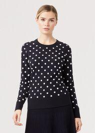 Athena Spot Sweater, Navy Ivory, hi-res