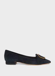 Eliza Suede Flat Shoes, Navy, hi-res