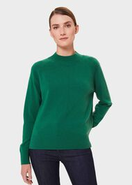Lyndsey Wool Cashmere Funnel Neck Sweater, Bright Green, hi-res