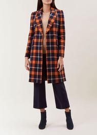 Rosaline Wool Blend Coat, Rust Navy, hi-res
