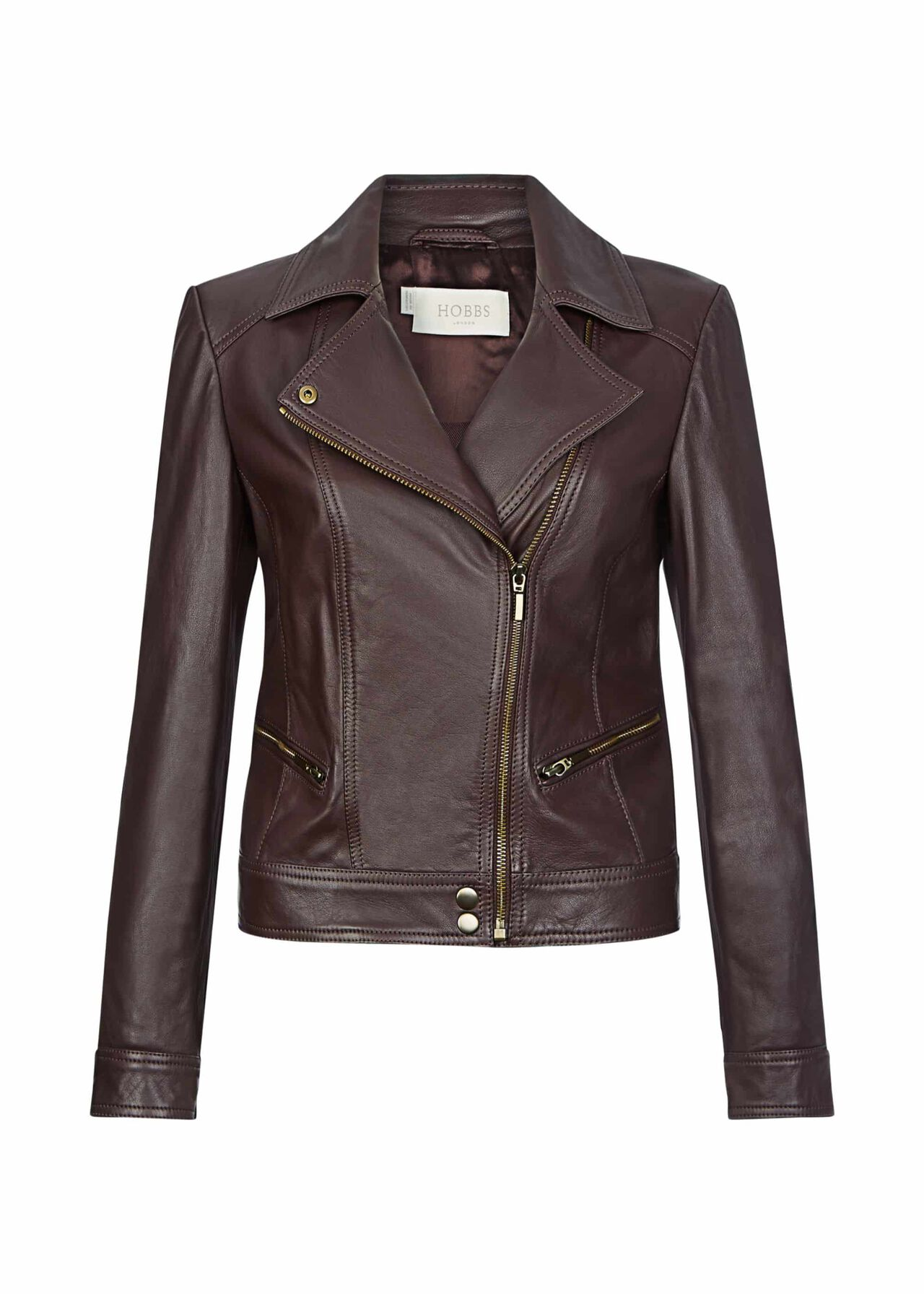 Yasmine Leather Jacket Burgundy