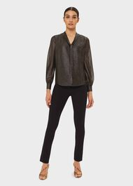 Wren Stripe Blouse, Black Gold, hi-res