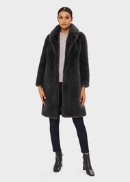 Georgia Faux Fur Collar Coat, Charcoal, hi-res