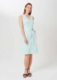 Juliet Cotton Blend Stripe A Line Dress, Aqua White, hi-res