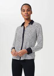 Addison Spot Shirt, Ivory Navy, hi-res