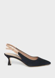 Julia Suede Slingback Shoes, Navy Fawn, hi-res