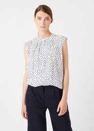 Lillie Blouse, Ivory Fr Blue, hi-res