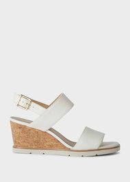 Verona Leather Wedge Sandals, White, hi-res