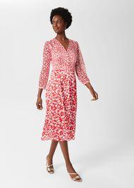 Rosie Floral V Neck Dress, Rasp Red Ivory, hi-res