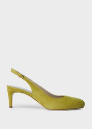 Emma Suede Stiletto Slingback Court Shoes, Leaf Green, hi-res