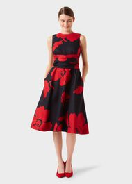 Petite Twitchill Dress, Navy Red, hi-res