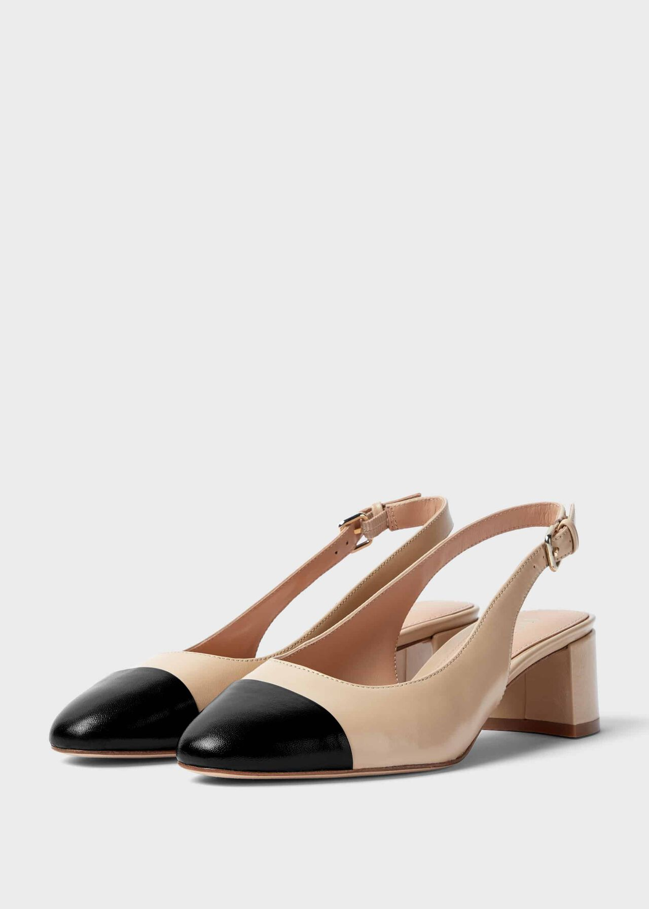 Emily Leather Block Heel Slingback Court Shoes Birch