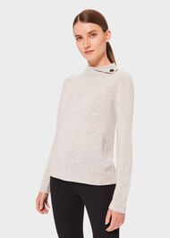 Talia Wool Cashmere Sweater, Pale Grey Marl, hi-res
