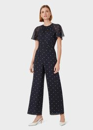 Sarah Spot Jumpsuit, Midnight Ivory, hi-res