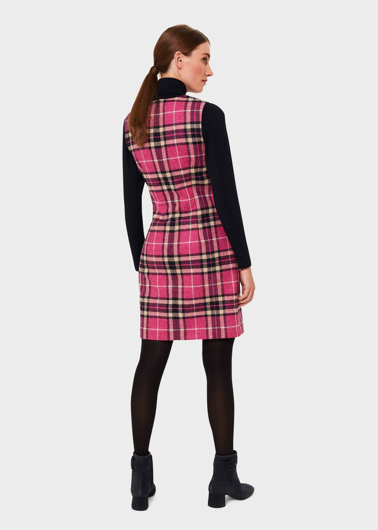 Margot Wool Check Shift Dress, Pink Navy, hi-res