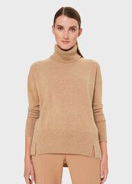 Cashmere Dahlia Rollneck Sweater, Camel Melange, hi-res