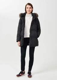 Lexie Puffer Jacket With Hood, Washed Black, hi-res