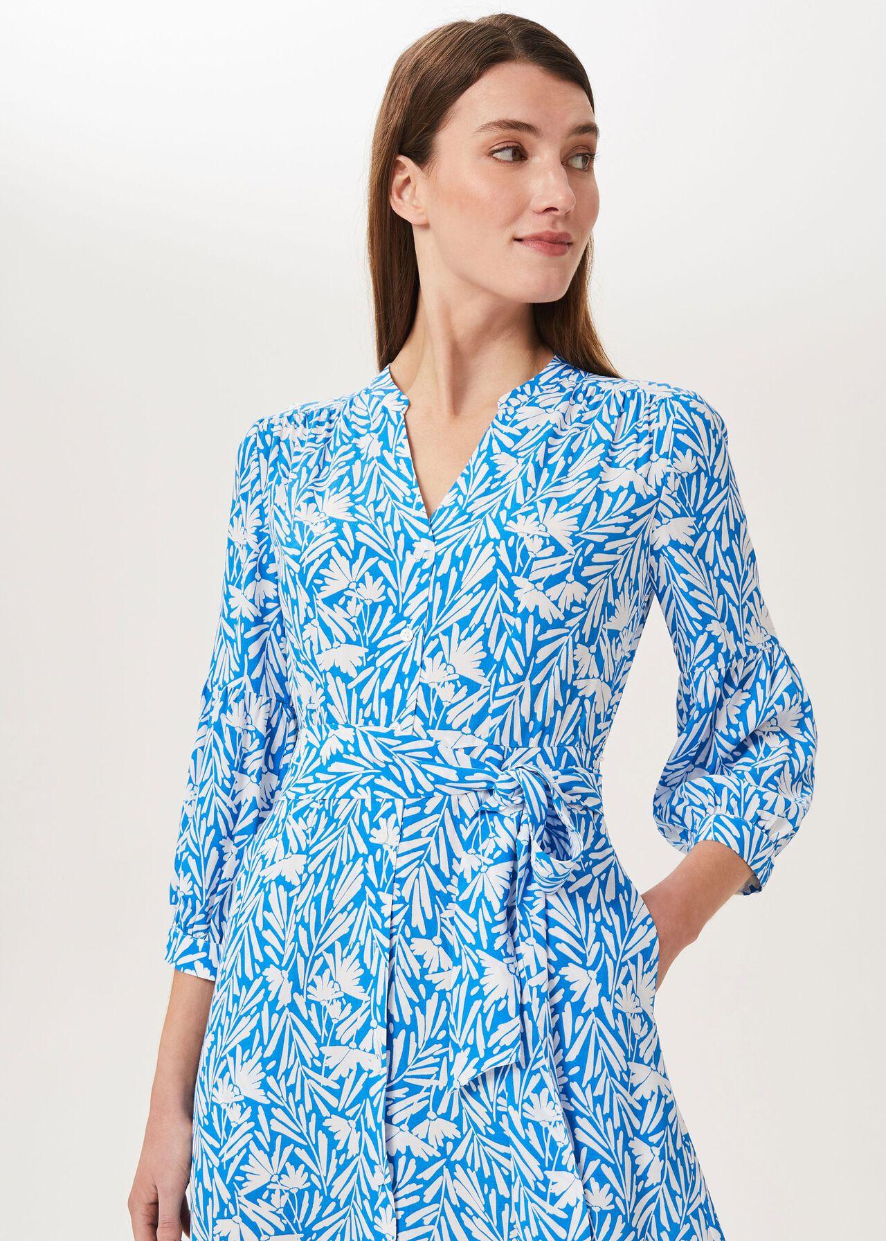 Carla Printed Midi Dress, Azure Blue Wht, hi-res
