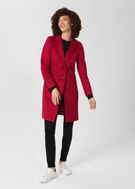 Tilda Wool Coat, Fuchsia Pink, hi-res