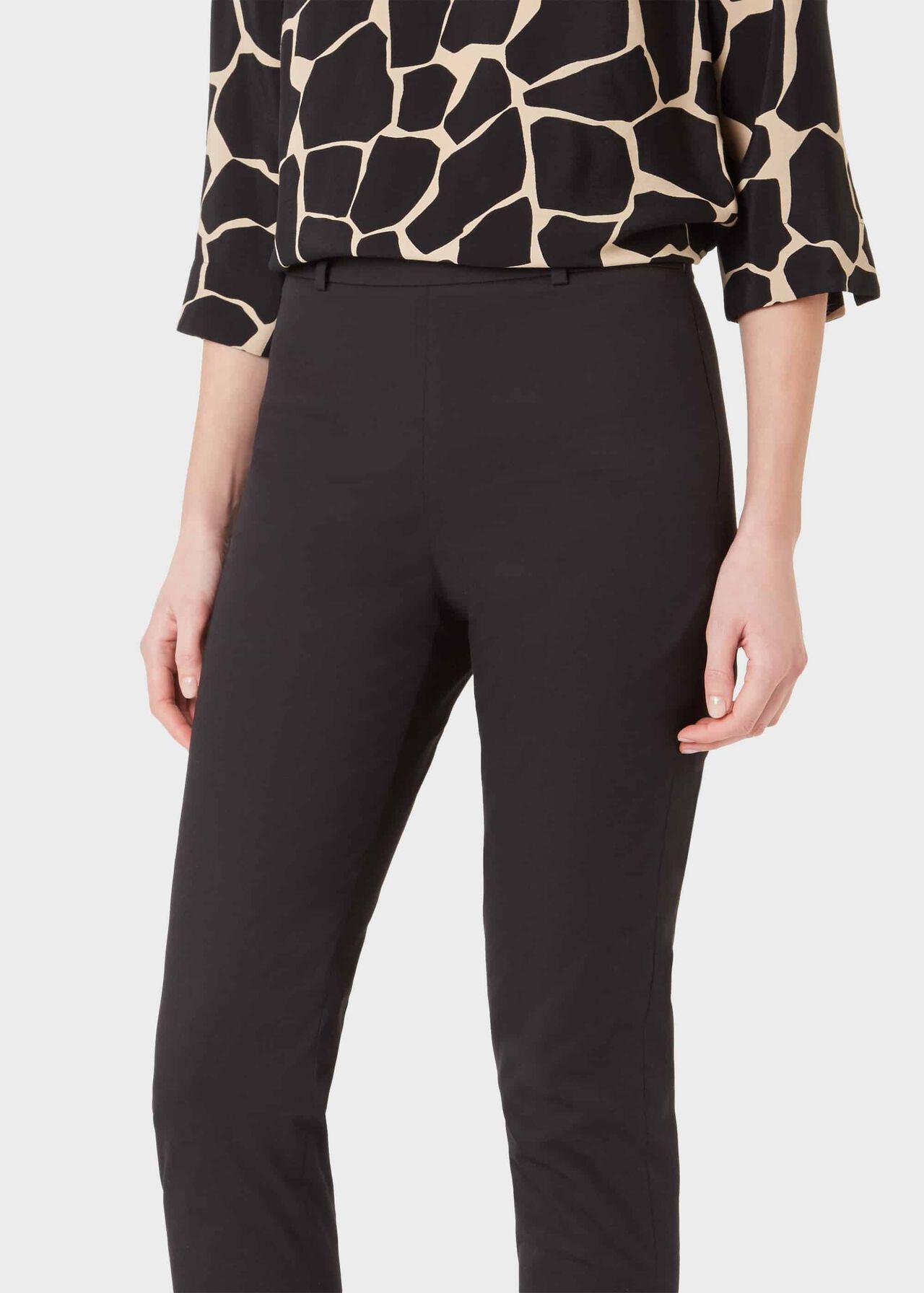 Mallory Cotton Blend Capri Trousers With Stretch, Black, hi-res