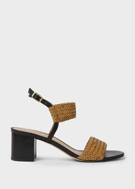 Lois Leather Sandals, Tan, hi-res