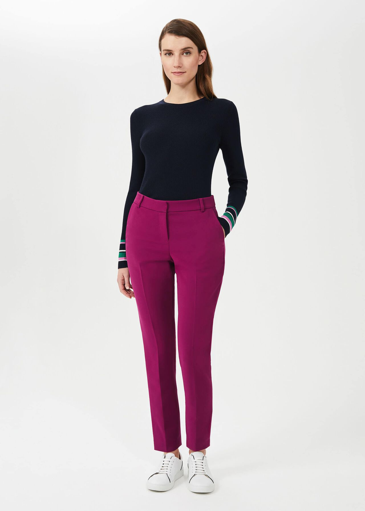 Suki Slim Trouser With Stretch, Magenta, hi-res