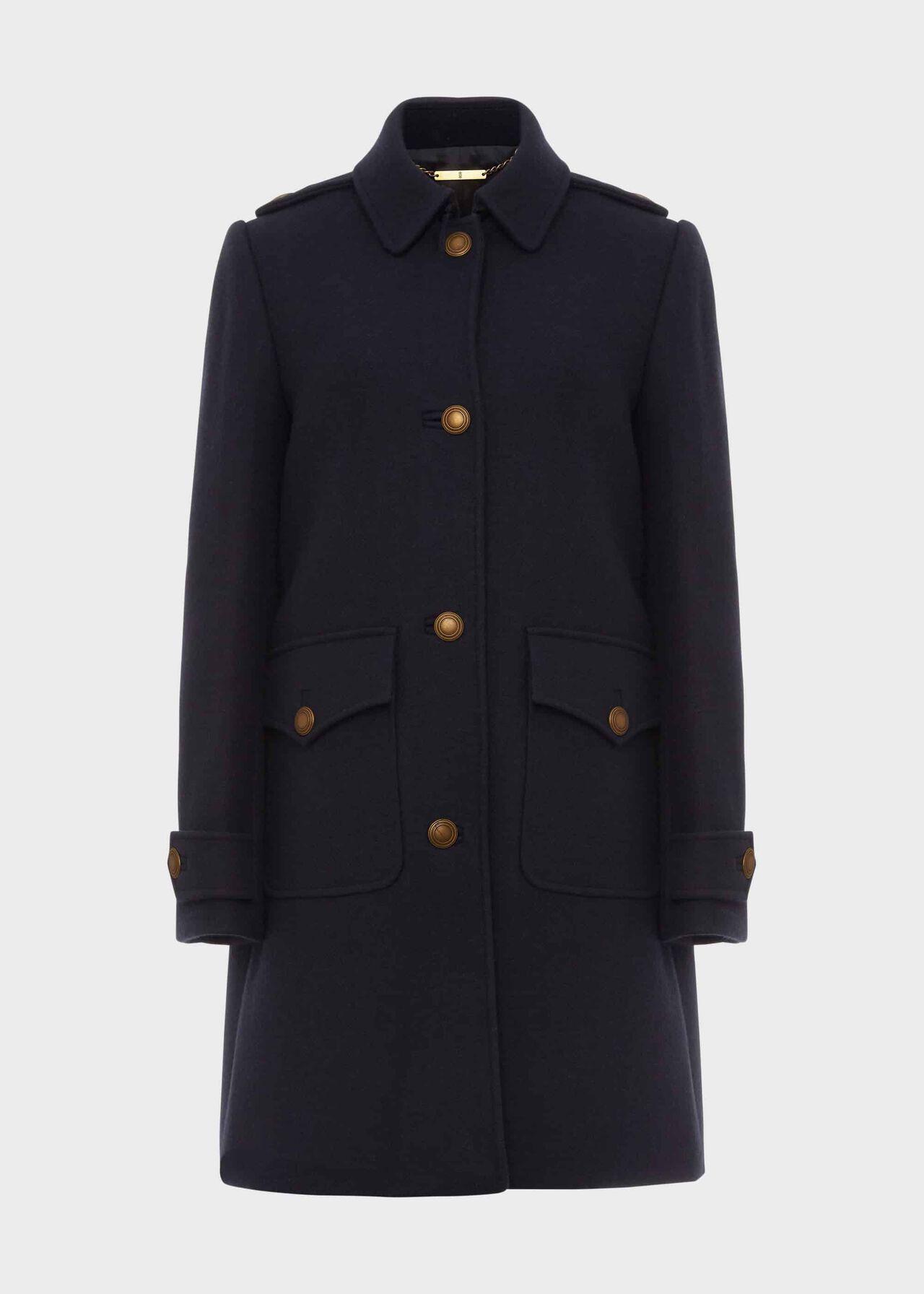 Phoebe Wool Blend Coat Navy