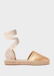Louisa Leather Flat Espadrilles, Gold, hi-res