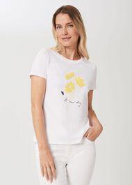 Pixie Cotton Printed T-Shirt, White Yellow, hi-res