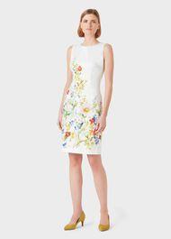 Fiona Cotton Blend Floral Shift Dress, Ivory Multi, hi-res